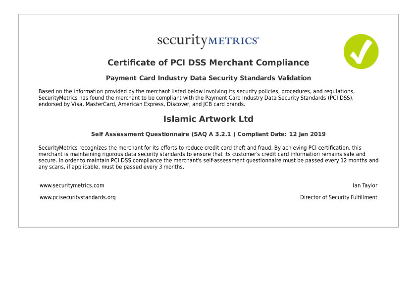 Pci Dss Compliance Certificate Islamic Artwork